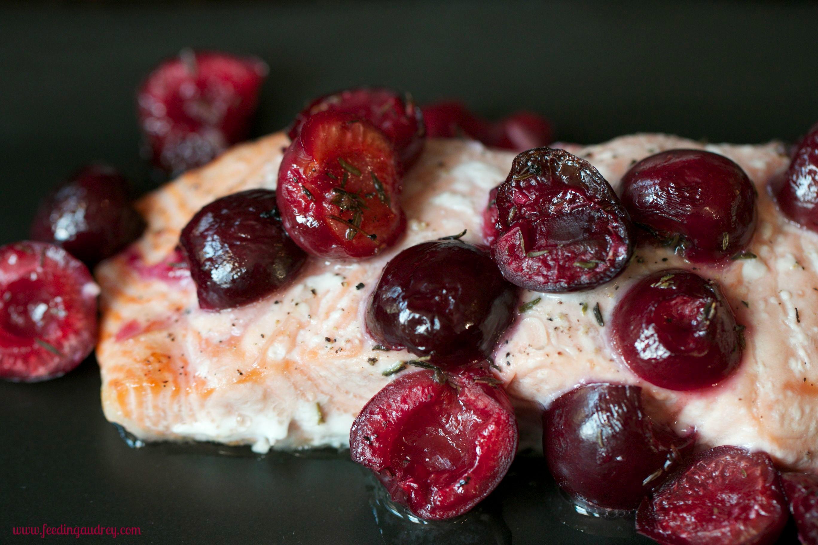 Roasted Salmon with Cherries  www.feedingaudrey.com