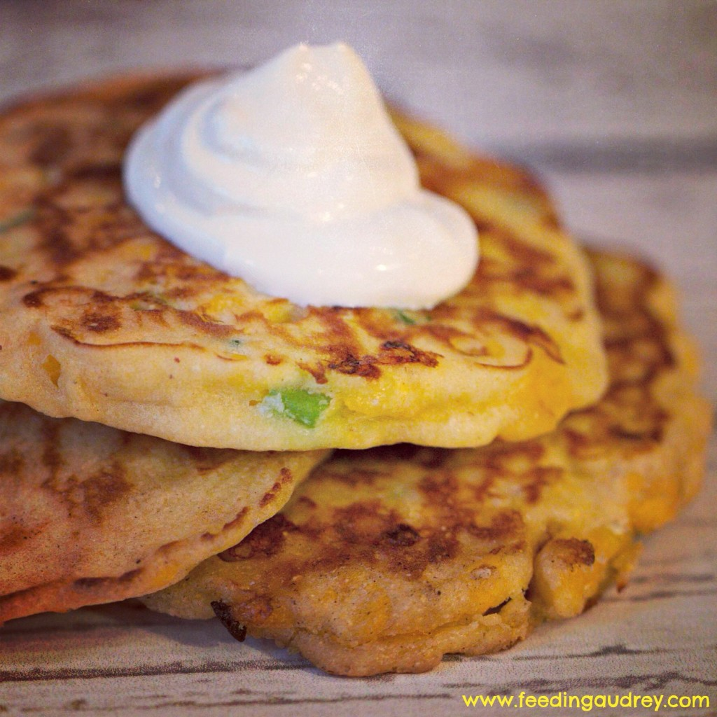 Corn and Scallion Griddle Cakes www.feedingaudrey.com