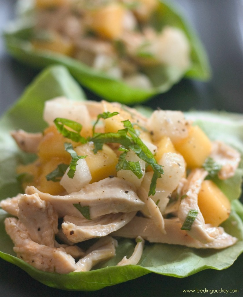 Mango and Chicken Lettuce Cups www.feedingaudrey.com